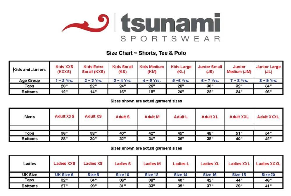 Tsunami Size Chart